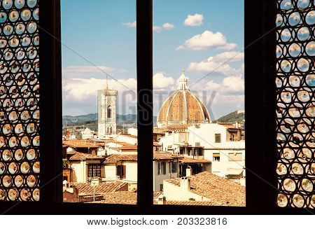 Cattedrale di Santa Maria del Fiore is the main church of Florence. Tuscany Italy. Travel destination. Yellow photo filter.