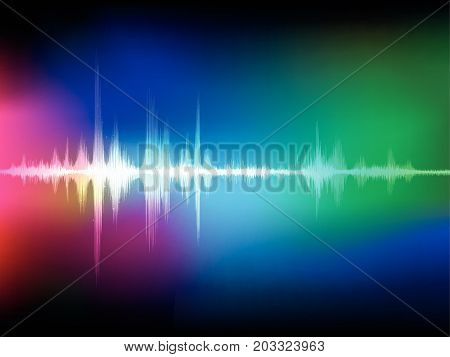 Colorful abstract digital sound wave oscillating background vector illustration.