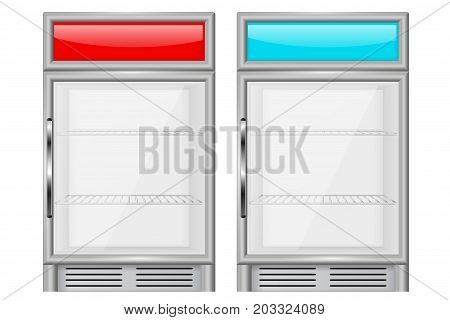 Display refrigerator. Small compact fridge. Vector illustration isolated on white background