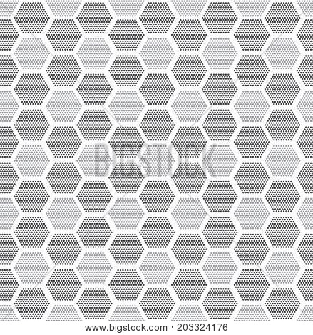 Modern stylish texture. Repeating geometric tiles with filled with dotted hexagons. Regular hipster background. Small circles form hexagonal minimalistic ornament.Vector illustration