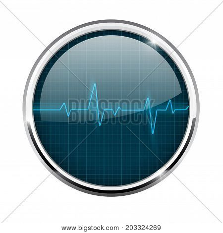 Electrocardiogram sign. Blue waves. Round 3d icon with chrome frame. Vector illustration isolated on white background