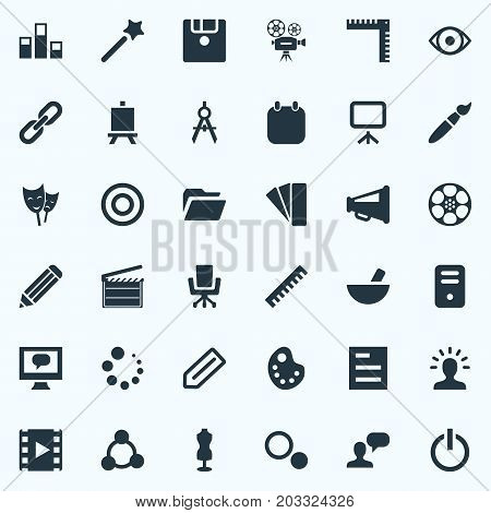 Elements Notebook, Pen, Round And Other Synonyms Ruler, Variety And Designer.  Vector Illustration Set Of Simple Design Icons.