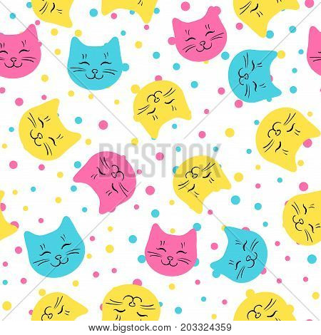 Vector seamless pattern with cute colored kitten faces. Backround with cats head