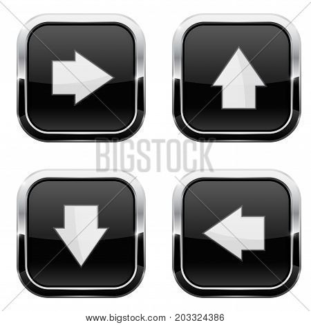 Black buttons with arrows. Keys with chrome frame. Vector 3d illustration isolated on white background