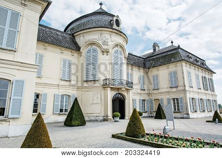 Beautiful Schloss Niederweiden in Austria. Architectural scene. Travel destination. Detail photo.