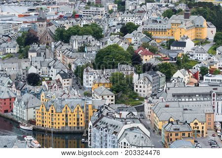 Alesund is a port and tourist city in Norway. Famous tourist attraction. View point on Mount Aksla