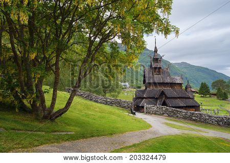 Borgund Stave Church - oldest preserved timber buildings. A memo of the wooden architecture of Norway