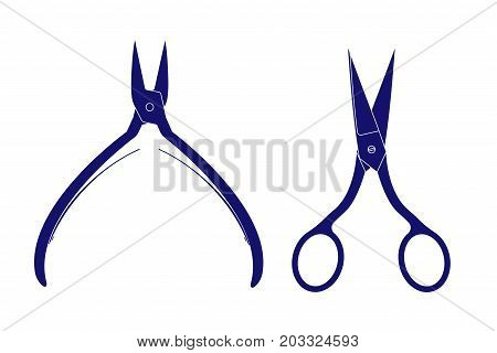 Scissors and nippers. Nail care set. Vector illustration isolated on white background