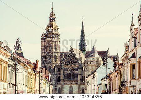Spectacular St. Elisabeth cathedral in Kosice Slovak republic. Retro photo filter. Travel destination.