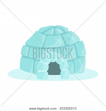 Igloo icy cold house built from ice blocks, traditional house of north nations of Canada, Siberia, North America colorful vector Illustration on a white background
