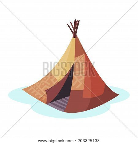 Wigwam traditional house of north nations of Canada, Siberia, North America colorful vector Illustration on a white background