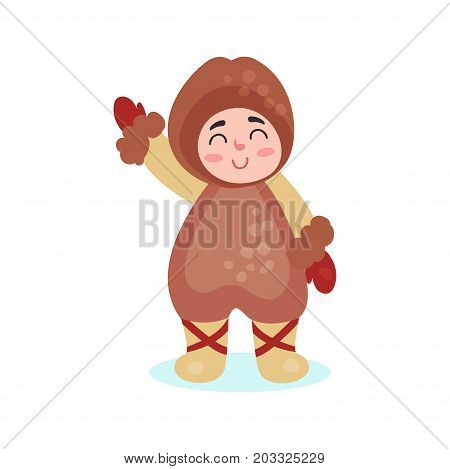 Eskimos boy character dressed in national costume colorful vector Illustration on a white background