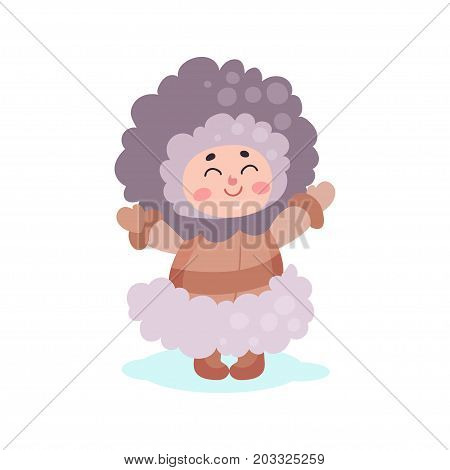Eskimos girl character dressed in national costume colorful vector Illustration on a white background