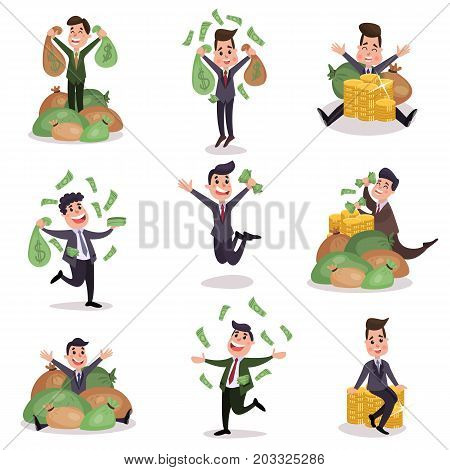 Rich wealthy happy millionaire characters enjoying their money colorful vector Illustrations on a white background