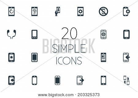 Elements Inbounding, Portable Connector, Hearing And Other Synonyms Listening, Communicator And Forbidden.  Vector Illustration Set Of Simple Telephone Icons.