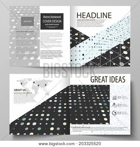 Business templates for square bi fold brochure, magazine, flyer, booklet. Leaflet cover, abstract layout. Soft color dots, illusion of depth and perspective, dotted background. Elegant vector design