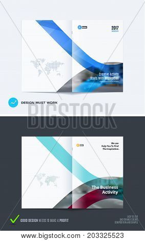 Design of business vector template, brochure, abstract annual report, cover modern layout, flyer in A4 with soft rounded shapes, abstract lines for finance, catalogue with background.