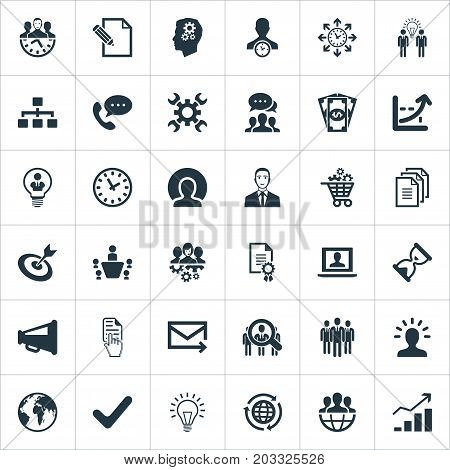 Elements Global Trade, Headhunting, Online Support And Other Synonyms Advertising, Plan And Director.  Vector Illustration Set Of Simple Strategy Icons.