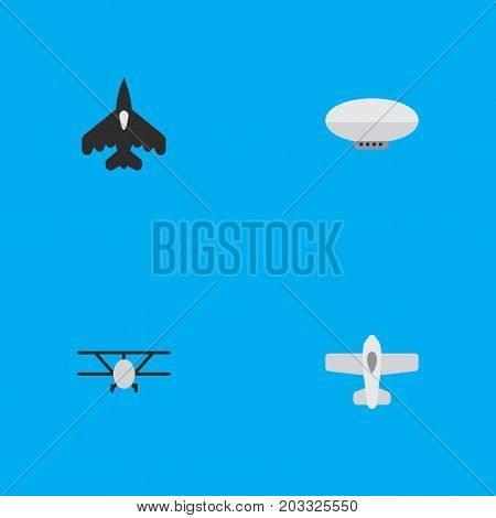 Elements Balloons, Plane, Airplane And Other Synonyms Aircraft, Balloons And Airship.  Vector Illustration Set Of Simple Aircraft Icons.