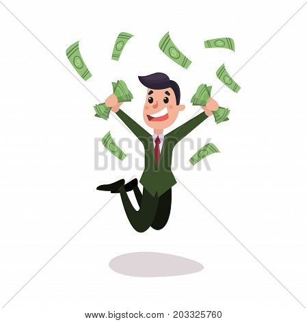 Happy wealthy businessman character jumping under money rain colorful vector Illustration on a white background