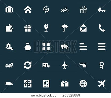 Elements Car Repair, Gingham, Questionnaire And Other Synonyms Rain, Pouch And Mail.  Vector Illustration Set Of Simple Delivery Icons.