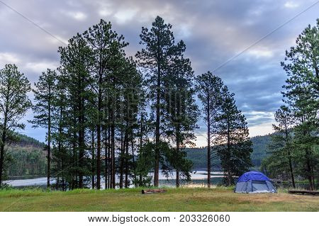 Sheridan lake Campground in the Black Hills, South Dakota, the morning after a heavy thunderstorm.