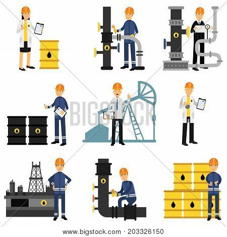 Oil industry set, extraction, production, refinery and transportation oil and petrol vector Illustrations on a white background