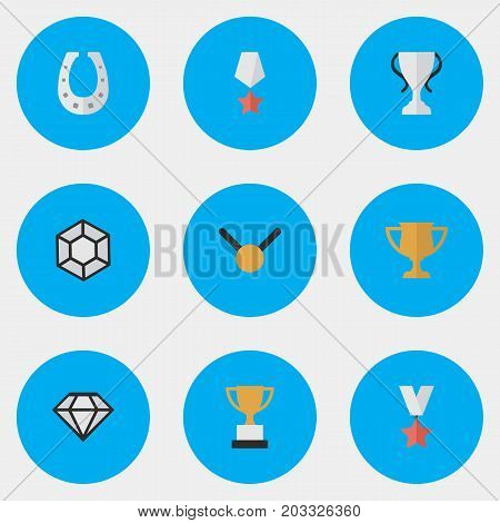Elements Goblet, Trophy, Premium And Other Synonyms Precious, Prize And Premium.  Vector Illustration Set Of Simple Reward Icons.