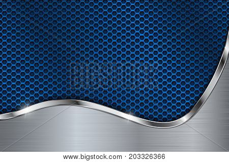 Blue metal perforated background. Chrome curve element. Vector 3d illustration