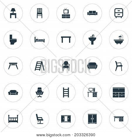 Elements Lounge, Tap, Crib And Other Synonyms Chest, Toilet And Design.  Vector Illustration Set Of Simple Furniture Icons.