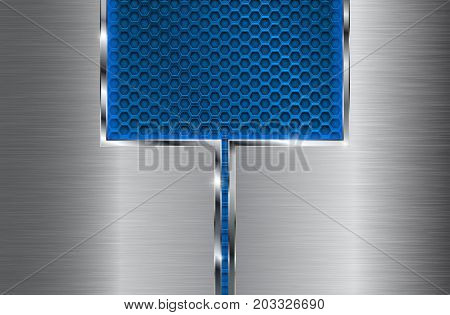 Metal brushed background with blue perforation. Vector 3d illustration