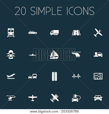 Elements Electric Vehicle, Aeration, Jet And Other Synonyms Suspension, Whirlybird And Metro.  Vector Illustration Set Of Simple Transport Icons.