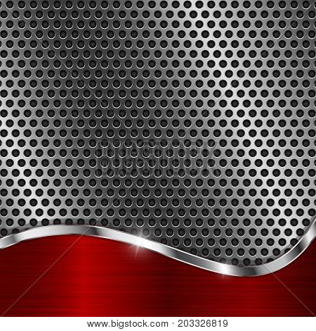 Metal perforated background with red wave element. Vector 3d illustration