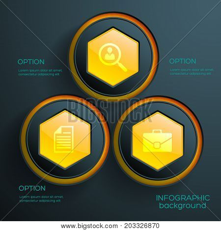 Abstract infographic concept with three orange hexagonal web elements and business icons vector illustration