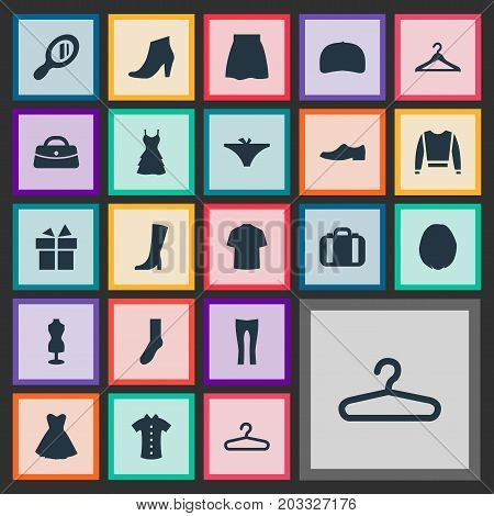 Elements Present, Purse, Make-Up Glass And Other Synonyms Dress, Travel And Half-Hose.  Vector Illustration Set Of Simple Dress Icons.