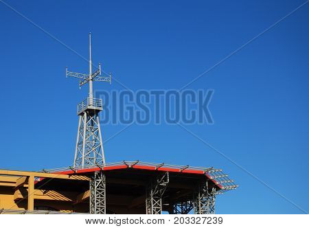 Helipad. Heliport with copy space and blue sky background