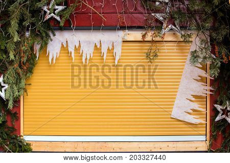 Closed Christmas Market Stall, Xmas Season