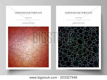 Business templates for brochure, flyer or report. Cover design template, vector layout, A4 size. Chemistry pattern, molecular texture, polygonal molecule structure, cell. Medicine microbiology concept