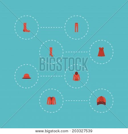 Flat Icons Elegant Headgear, Coat, Pants And Other Vector Elements