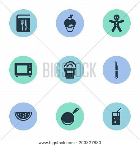 Elements Juice, Oven, Summer Fruit And Other Synonyms Cookware, Copybook And Gingerbread.  Vector Illustration Set Of Simple Cuisine Icons.