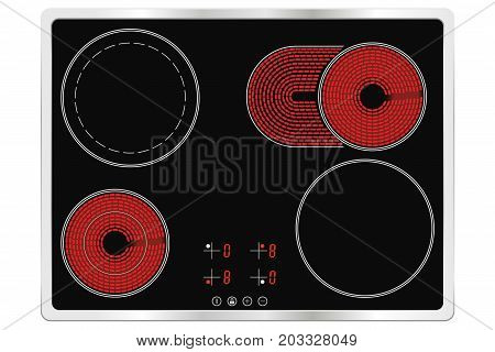Electric ceramic cook top. Vector illustration on white