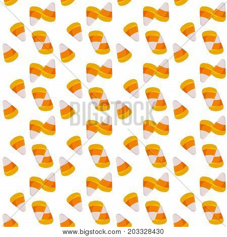 Halloween candy corn seamless pattern vector background holiday horror wallpaper cartoon spooky autumn decoration illustration. Traditional dark trick or treat evil season halloween paper.