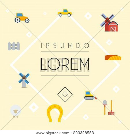 Set Of Agriculture Flat Icons Symbols Also Includes Propeller, Lamb, Wooden Objects.  Flat Icons Talisman, Windmill, Landscape Vector Elements.