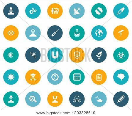 Elements Medicament, Temperature Measurement, Snow And Other Synonyms Investigator, Pharmacology And Biology.  Vector Illustration Set Of Simple Science Icons.