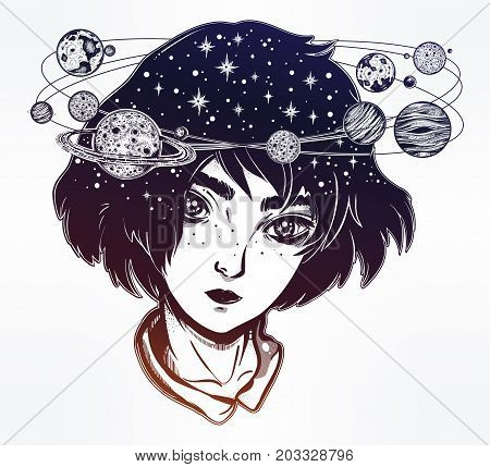 Portriat of cute girl face with head spin halo of planets and stars. Manga style, space, sci-fi, tattoo art. Isolated vector illustration. Trendy T-shirt print. Dreamer, astronomy sticker.