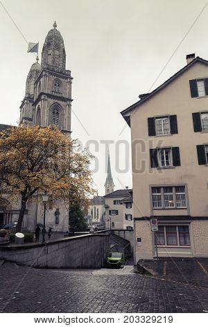 Cityscape Of Old Zurich In Dark Rainy Day