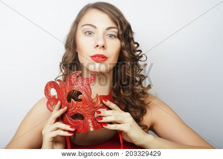 beautiful curly woman with mask