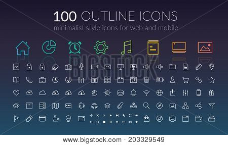 Web outline icons set of flat UI design elements and buttons for mobile application isolated vector illustration