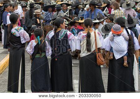 June 29 2017 Cotacachi Ecuador: indigenous quechua women  at Inti Raymi summer solstice celebration