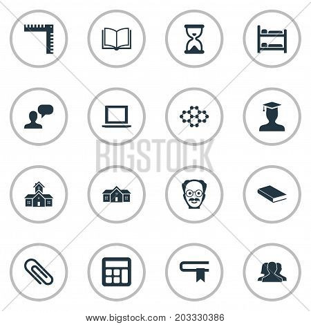 Elements Books, School, Adding Machine And Other Synonyms Structure, Scientist And Learning.  Vector Illustration Set Of Simple Education Icons.